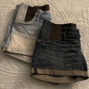 Two Isabel Maternity MIDI Jean Shorts Size 2